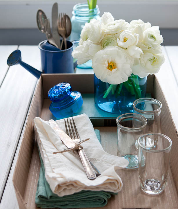 White and Blue Still Life Photograph with Utensils