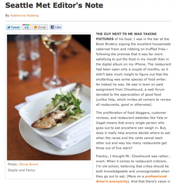 Olivia Brent Seattle Met Editor's Note November